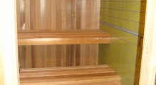 Cedar Sauna with Shower and heated tile floor