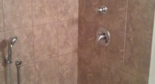 Custom tile shower – Tub replacement with acrylic base